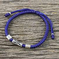 Silver pendant bracelet, 'Karen Triangle in Blue' - Hill Tribe Blue Cord Bracelet with Silver Beads