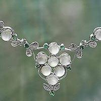 Moonstone and emerald pendant necklace, 'Leafy Charm' (India)