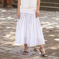 Cotton skirt, 'Floral Stripes' - White 100% Cotton Skirt with Embroidered Grey Floral Pattern