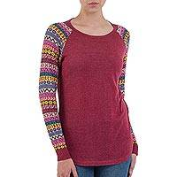 Cotton blend sweater, 'Andean Walk in Wine' - Wine Tunic Sweater with Multi Color Patterned Sleeves