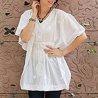 Cotton blouse, 'Snow Blossom' - White Cotton Long Caftan Blouse with Hand Embroidery