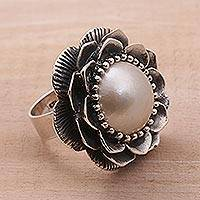 Cultured mabe pearl cocktail ring, 'Full Moon Lotus' - Cultured Mabe Pearl and Sterling Silver Lotus Cocktail Ring