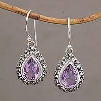 Amethyst dangle earrings, 'Jepun Lilac' - Frangipani Flower Dangle Earrings with Amethyst Gems