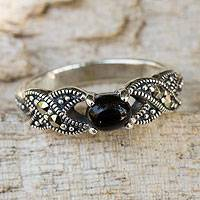 Onyx and marcasite cocktail ring, 'At Midnight' - Thai Marcasite and Onyx Cocktail Ring