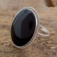 Jade cocktail ring, 'Maya Night Sky' - Unique Modern Sterling Silver Black Jade Cocktail Ring