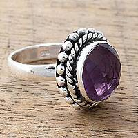Amethyst cocktail ring, 'Enamored by Twilight' - Artisan Crafted Sterling Silver and Amethyst Cocktail Ring