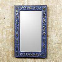 Wall mirror, 'Antique Blue' - Handcrafted Wall Mirror in Rustic Blue with Brass Inlay
