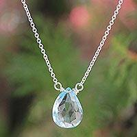 Blue topaz pendant necklace, 'A Spell of Truth' - Sterling Silver and Blue Topaz Necklace