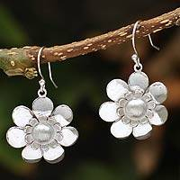 Silver floral earrings, 'Bright Blossom' - Silver floral earrings