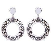 Sterling silver hoop earrings, 'Zigzag Rings' - Zigzag Motif Sterling Silver Dangle Earrings from Mexico