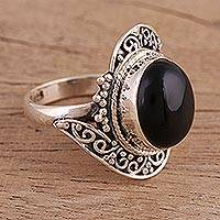 Onyx cocktail ring, 'Magical Allure' - Handcrafted Black Onyx Cocktail Ring from India