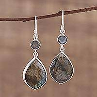 Labradorite dangle earrings, 'Frozen Aurora' - 36 Carat Labradorite and Silver Dangle Earrings