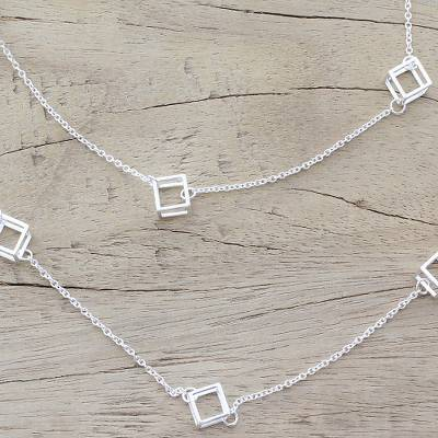 Sterling silver long station necklace, 'Silver Cubism' - Long Sterling Silver Cube Station Necklace from India