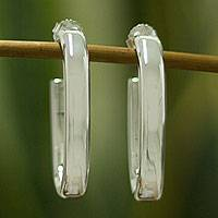 Sterling silver half hoop earrings, 'Oval Halo' - Fair Trade Polished Taxco Silver Half Hoop Earrings