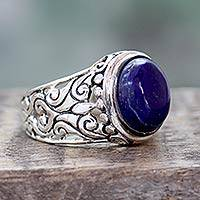 Lapis lazuli cocktail ring, 'Royal Blue Romance' - Handmade Lapis Lazuli and Sterling Silver Cocktail Ring