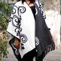 Reversible alpaca blend ruana cloak, 'Silhouette' - Peruvian Floral Reversible White and Grey Wrap Ruana