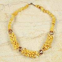 Agate beaded necklace, 'Edem' - Yellow Agate and Glass Beaded Necklace Crafted by Hand