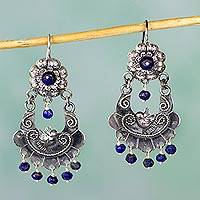 Lapis lazuli chandelier earrings, 'Mazahua Doves' - Authentic Mazahua Sterling Silver Earrings with Lapis Lazuli
