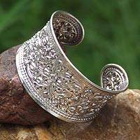 Sterling silver cuff bracelet, 'Eastern Blossoms' - Hand Made Floral Sterling Silver Cuff Bracelet