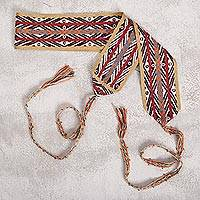 Cotton belt, 'Andean Conquest' - Artisan Handwoven Andean Cotton Belt from Peru