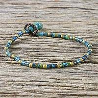Brass beaded bracelet, 'Andaman Sea Currents' - Brass and Reconstituted Turquoise Beaded Bracelet
