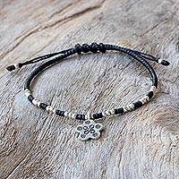 Silver beaded bracelet, 'Pretty Karen Flower' - Karen Silver Floral Beaded Charm Bracelet from Thailand