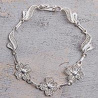 Sterling silver filigree link bracelet, 'Sparkling Flowers' (Peru)