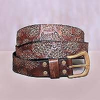 Leather belt, 'Earthen Pebbles' - Fair Trade Leather Belt