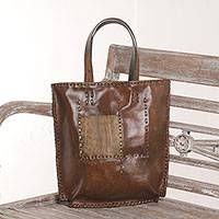 Leather tote bag, 'Kuta Heritage' - Brown Leather Tote Bag with Antique Finish from Indonesia