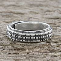 Sterling silver wrap ring, 'Silver Suave' - Handmade Sterling Silver Thai Hill Tribe Geometric Wrap Ring