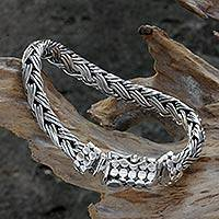 Men's sterling silver braided bracelet, 'Friendship' - Sterling Silver Chain Bracelet