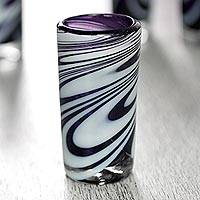 Blown glass shot glasses, 'Whirling Plum' (set of 6) - Set of 6 Purple and White Hand Blown Mexican Shot Glasses
