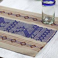 Cotton and silk placemats, 'Blue Myths' (set of four) - Deer and Frog Cotton Silk Hand Woven Placemats Set of 4