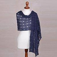 100% alpaca shawl, 'Breezy Skies in Denim' - 100% Alpaca Hand-Crocheted Shawl in Denim from Peru