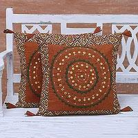 Cotton cushion covers, 'Ginger Brilliance' (pair) - Two Embroidered Cotton Cushion Covers in Ginger from India