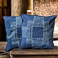 Cotton batik cushion covers, 'Hill Tribe Constellation' (pair) - Hand Made Batik Cushion Covers (Pair)