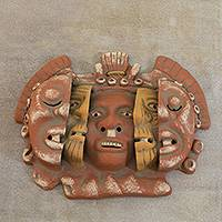 Ceramic mask, 'Three Ages of Man' - Aztec Archaeological Ceramic Mask