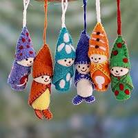 Wool ornaments, 'Babes in Snowsuits' (set of 6) - Set of 6 Handmade Ornaments from India