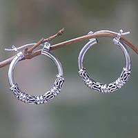 Sterling silver hoop earrings, 'Festival Moon' - Artisan Crafted Sterling Silver Hoop Earrings from Bali