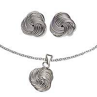 Sterling silver jewelry set, 'Infinite Knot' - Taxco Artisan Crafted Sterling Silver Earrings and Necklace