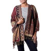 Jamawar wool shawl, 'Modern Paisley Mix' - Modern Jamawar Inspired Multi-Color Wool Shawl from India