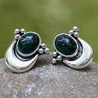 Malachite button earrings, 'Healing Crescent' - Fair Trade Sterling Silver and Malachite Earrings