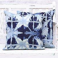 Tie-dyed cotton cushion covers, 'Navy Delight' (pair) - Two Tie-Dyed Cotton Cushion Covers in Navy from India