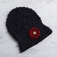 100% alpaca hat, 'Black Floral Cloche' - Alpaca Cloche Hat Hand Knit in Black with Red