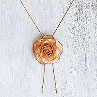 Gold plate and natural rose lariat necklace, 'Old Fashioned Garden Rose' - Genuine Rose and Gold Plate Necklace from Thailand