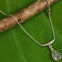Labradorite pendant necklace, 'Hill Tribe Muse' - Sterling and Hill Tribe Silver Necklace with Labradorite