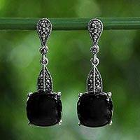 Onyx and marcasite dangle earrings, 'Beautifully Smooth' - Black Onyx and Marcasite Sterling Silver Dangle Earrings