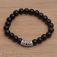 Onyx beaded stretch bracelet, 'Uluwatu Eclipse' (Indonesia)