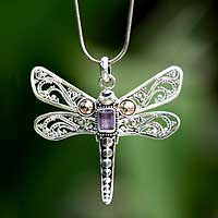 Gold accent amethyst pendant necklace, 'Dragonfly Summer' (Indonesia)