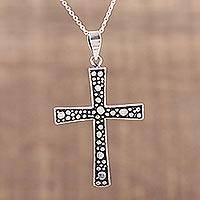 Sterling silver cross pendant necklace, 'Starry Heavens' - Unique Sterling Silver Cross Pendant Necklace